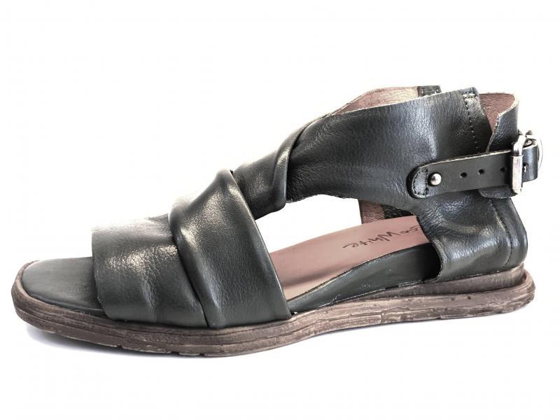 T0301 SALVIA Scarpa donna Rebecca White sandalo pelle verde zeppa bassa