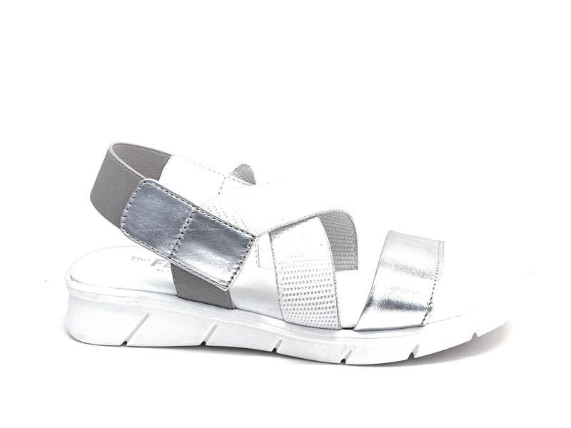 XC243.33 SILVER Scarpa donna The Flexx sandalo pelle incrocio elastico bianco argento
