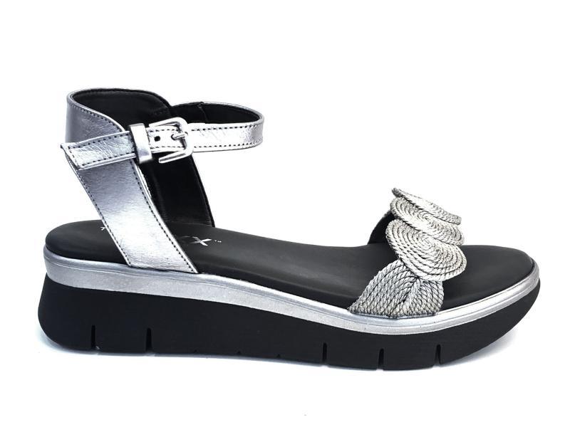 D2016.48GUN METAL Scarpa donna The Flexx sandalo pelle zeppa bassa  nero argento