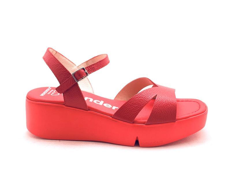 B7907 ROJO Scarpa donna Wonders sandalo pelle zeppa extra light rosso plantare gel