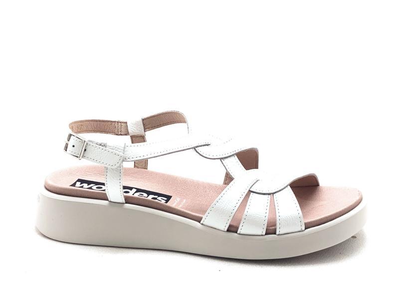 C6503 OFF WHITE Scarpa donna Wonders sandalo pelle bianco zeppa bassa fusbet anatomico