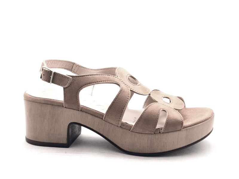 D8806P ANTE SAND Scarpa donna Wonders sandalo pelle tacco plateau sabbia