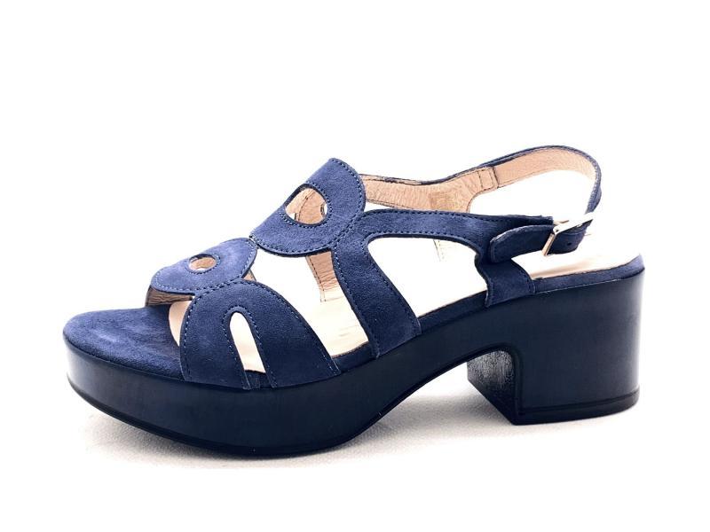 D8806PANTEBALTIC Scarpa donna Wonders sandalo pelle tacco plateau blu