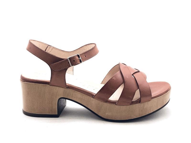 D8811P PERGAMENA RUST Scarpa donna Wonders sandalo pelle tacco plateau marrone soletta gel