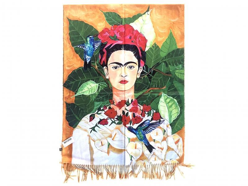 SCI015 FRIDA KHALO Sciarpa stola donna quadri d autore Frida Khalo 100% viscosa
