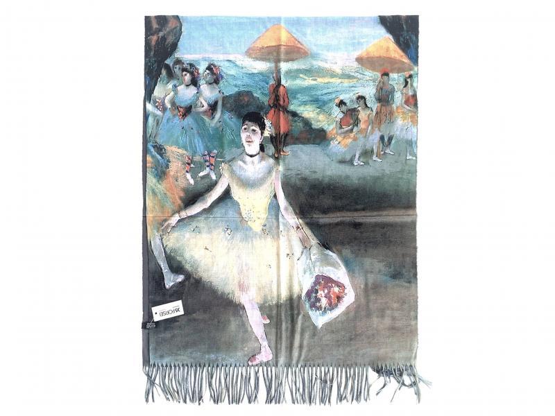 SCI015 BALLERINA CON BOUQUET Sciarpa stola donna quadri dautore Edgar Degas 100% viscosa
