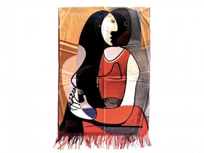 SCI015 DONNA SEDUTA Sciarpa stola donna quadri dautore Pablo Picasso 100% viscosa