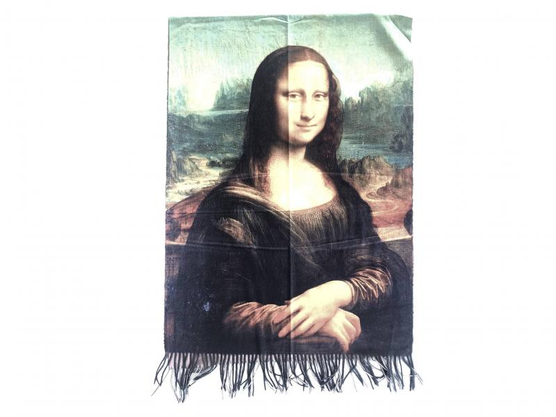 SCI015 LA GIOCONDA Sciarpa stola donna quadri dautore Leonardo Da Vinci 100% viscosa