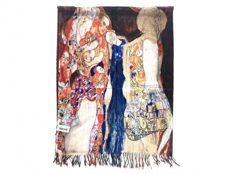 SCI015 LA SPOSA Sciarpa stola donna quadri dautore Gustav Klimt 100% viscosa