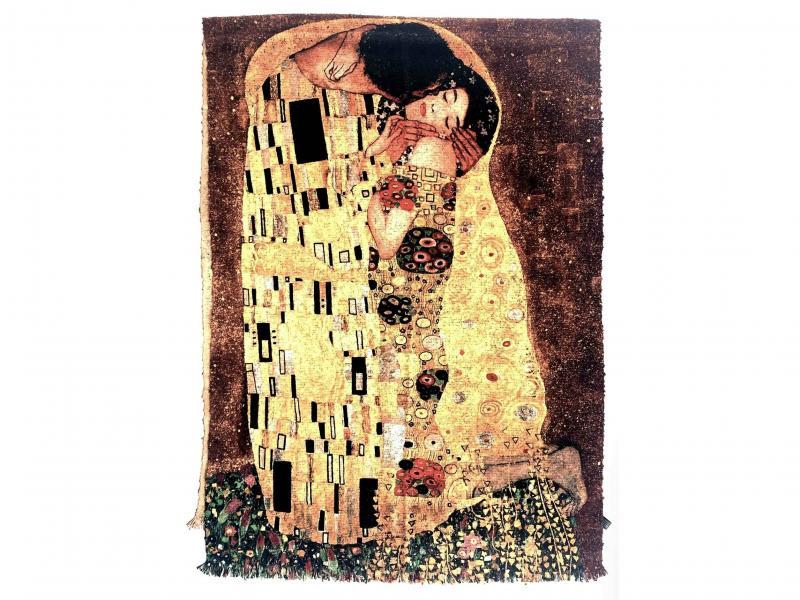 SCI015 IL BACIO Sciarpa stola donna quadri dautore Gustav Klimt 100% viscosa