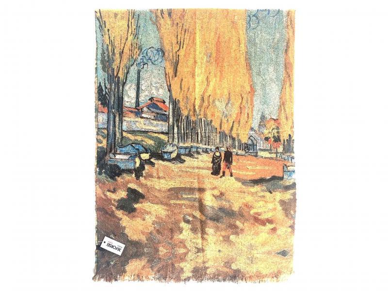 SCI015 I CAMPI ELISI  Sciarpa stola donna quadri dautore Van Gogh 100% viscosa doppia stampa