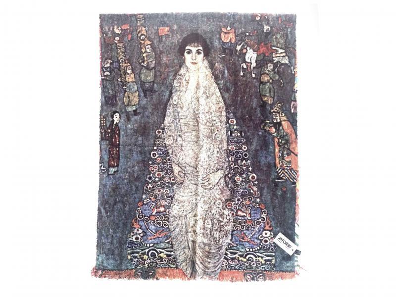 SCI015 LA BARONESSA ELISABETH BACHOFEN ECHT Sciarpa stola donna quadri dautore Gustav Klimt 100% viscosa doppia stampa