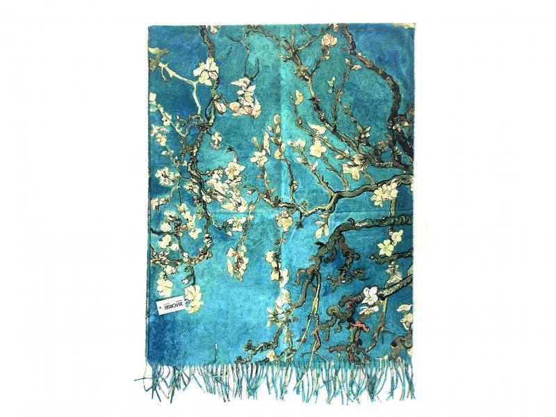SCI015 MANDORLO IN FIORE  Sciarpa stola donna quadri dautore Van Gogh 100% viscosa