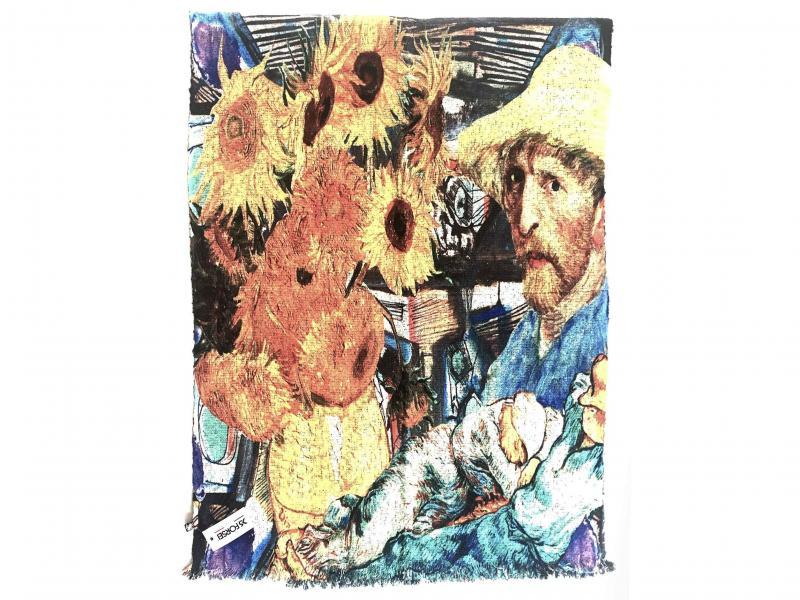 SCI015 VAN GOGH Sciarpa stola donna quadri dautore Van Gogh 100% viscosa doppia stampa