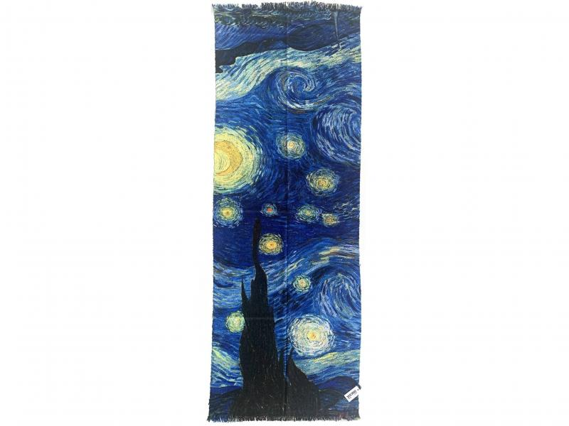 SCI015 NOTTE STELLATA Sciarpa stola donna quadri dautore Van Gogh 100% viscosa double face