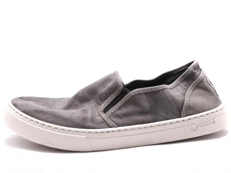 6601670 Scarpa uomo Natural World slip-on cotone fondo cassetta grigio