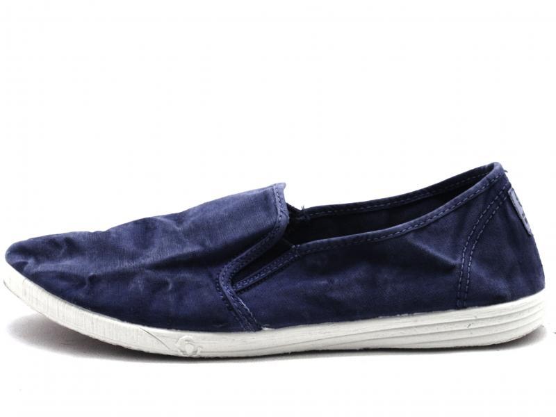 315628 Scarpa uomo Natural World slip-on fondo gomma cotone blu slavato