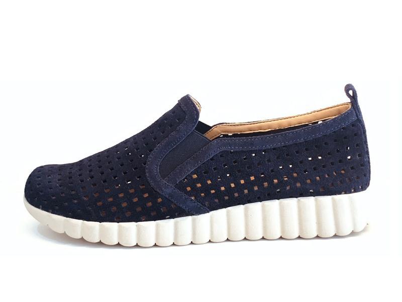 E1538.15 Navy Scarpa donna The Flexx sneaker slip-on pelle traforata blu