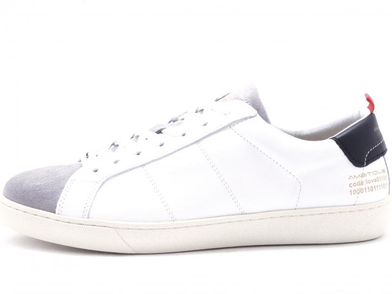 JUST8102 GREY Scarpa uomo Ambitious sneaker pelle bianco