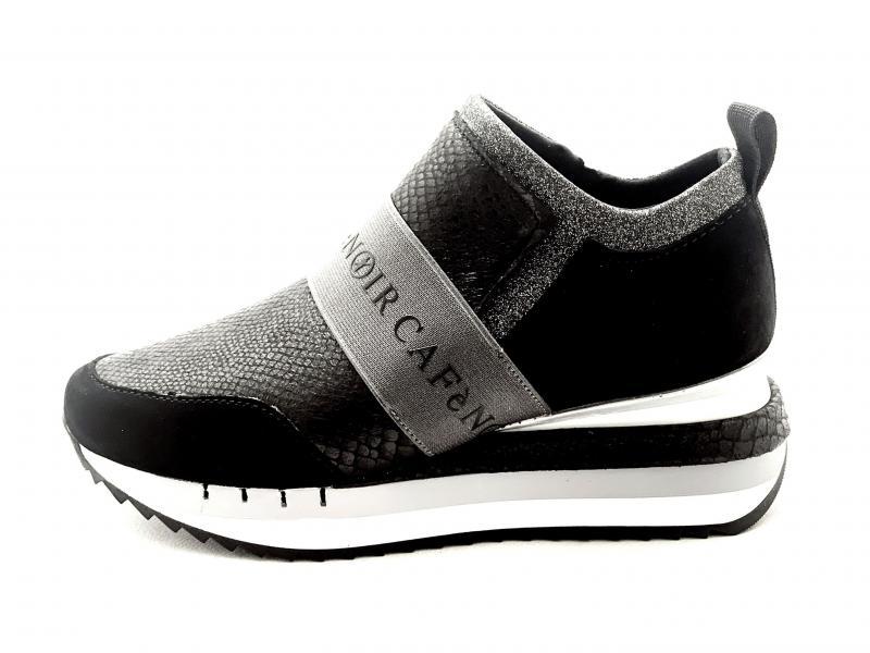 DN625 NERO Scarpa donna Cafènoir sneaker slip-on pelle zeppa multi