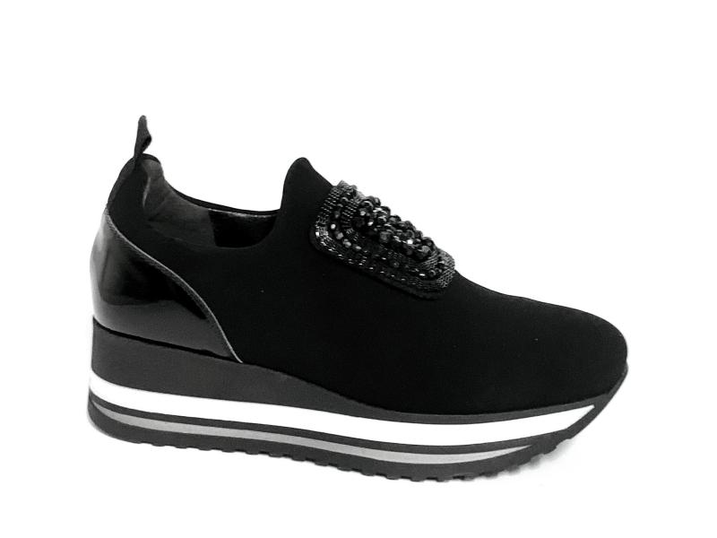 IAB1A1035003 NERO Scarpa donna Cinzia  Soft sneaker slip-on  plantare memory gel