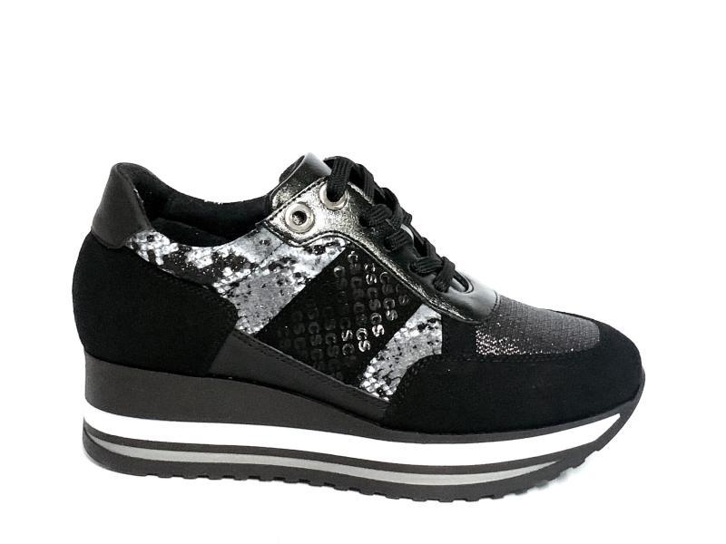 IAB1A4081001 NERO Scarpa donna Cinzia Soft sneaker pelle plantare memory gel