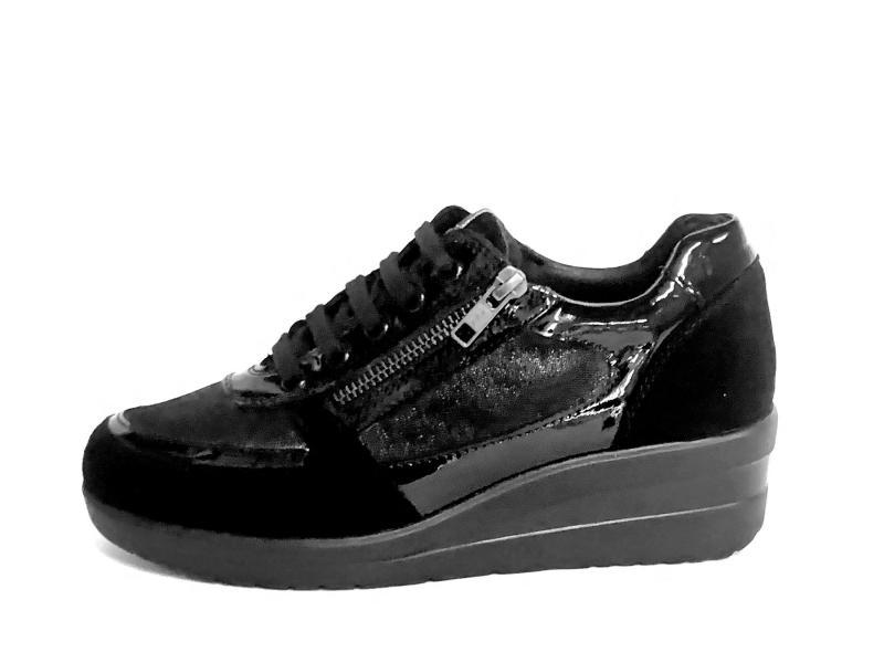 IV6655A-SC BLACK Scarpa donna Cinzia Soft sneaker zeppa pelle con lampo laterale