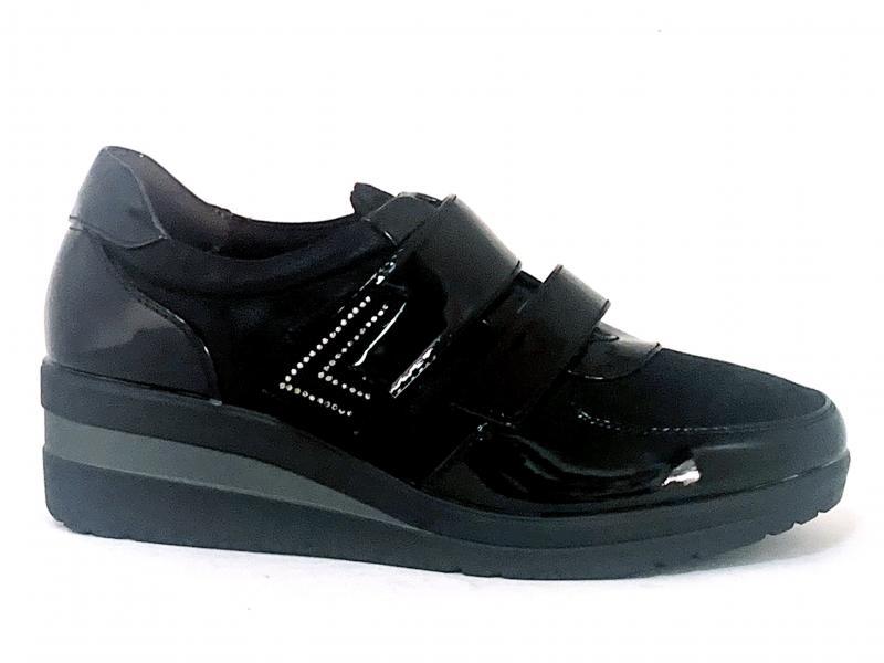 044945 NEGRO Scarpa donna zeppa Comfort by Xti sneaker nero velcro