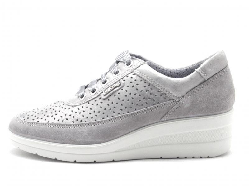 5262000 ACCIAIO Scarpa donna Enva Softl sneaker traforata zeppa pelle made in Italy