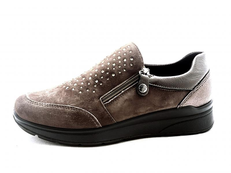 6279133 CACAO Scarpa donna Enval Soft sneaker slip-on cerniera pelle made in Italy