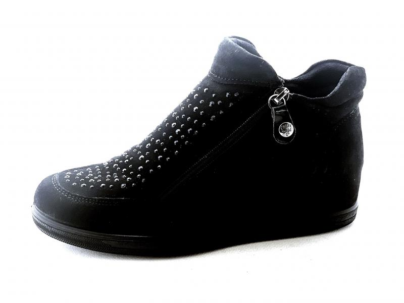 6285900 NERO Scarpa donna Enval Soft sneaker rialzata zeppa interna pelle made in Italy
