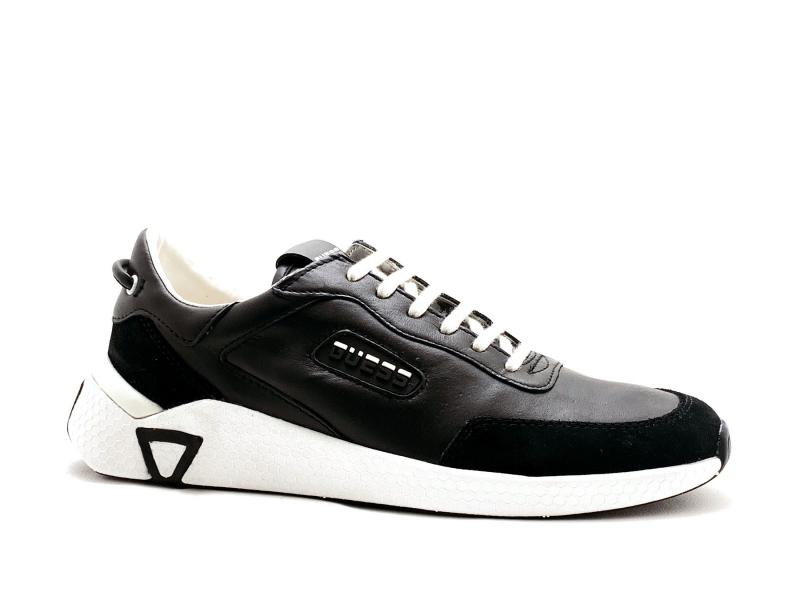 FM5MNA BLACK Scarpa uomo Guess sneaker running pelle nero