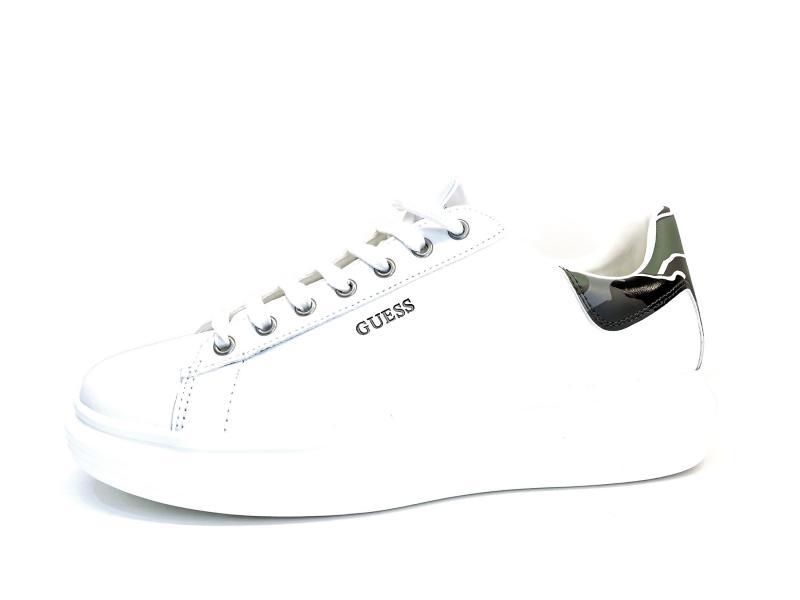 FM5SLR WHITE Scarpa uomo Guess sneaker pelle bianco baffo camouflage