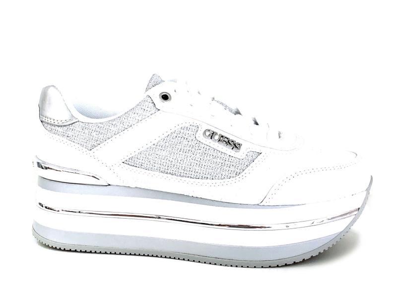 FL5HNS WHITE Scarpa donna Guess sneaker bianco pelle tessuto platform