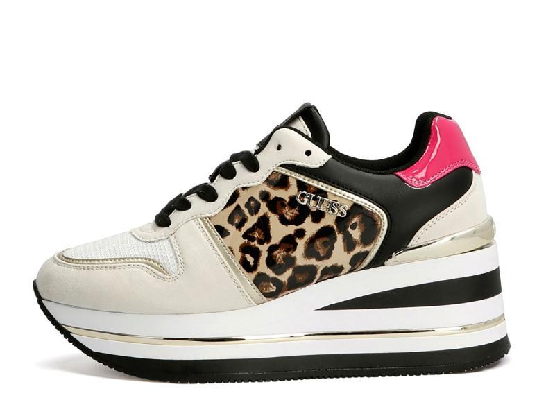 FL7H2E LEO Scarpa donna Guess sneaker runner hektore animalier