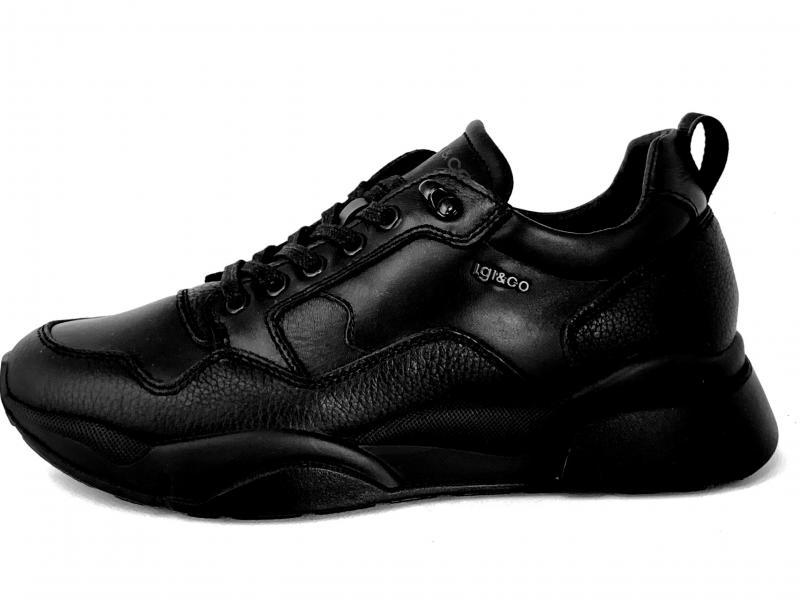 6144300 NERO Scarpa uomo Igi&co sneaker pelle made in Italy