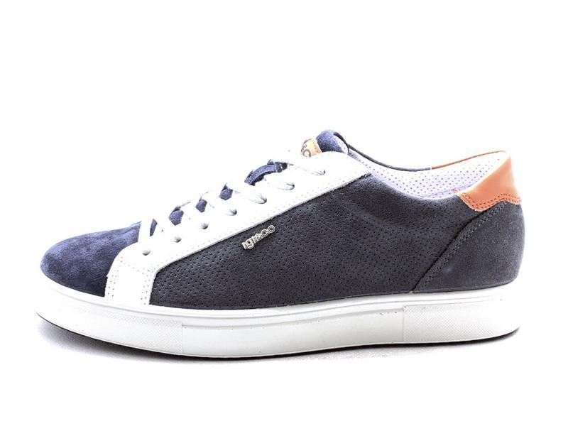 7128077 GRAFITE Scarpa uomo Igi&co sneaker pelle made in Italy grigio