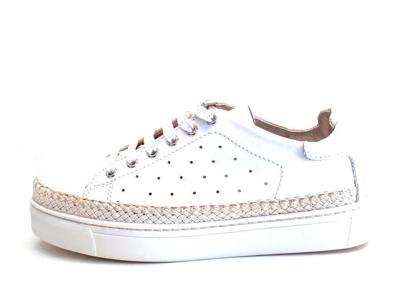 D1029.04WHITE Scarpa donna The FLexx sneaker platform profilo corda pelle traforata bianco