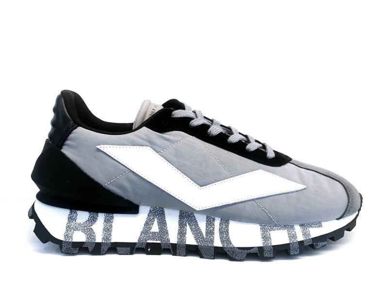 QWARK GREY BLACK WHITE Scarpa uomo Voile Blanche pelle e tessuto tecnico