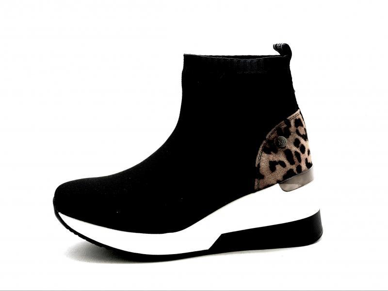 04456801 NEGRO Scarpa donna Xti sneaker elasticizzata a stivaletto nero maculato