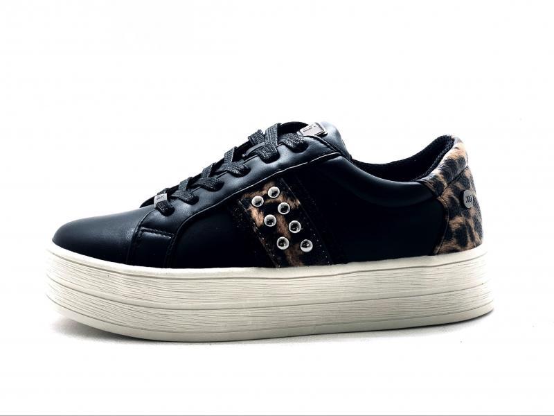 04468802 NEGRO Scarpa donna Xti sneaker nero maculato platform tne red touch