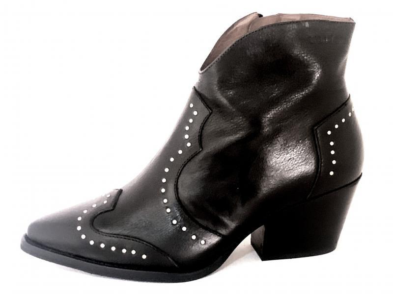 H-4022 NEGRO Scarpa donna tacco  Wonders tronchetto  texano vera pelle nero borchie